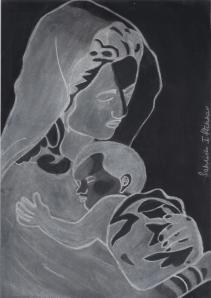 Mother & child Black & white version