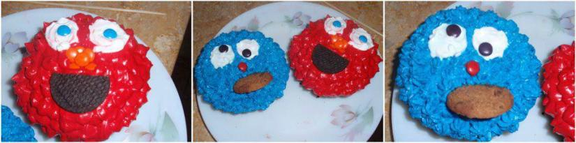 Cookie Monster and Elmo. Made these mini cakes for my darling nephews.